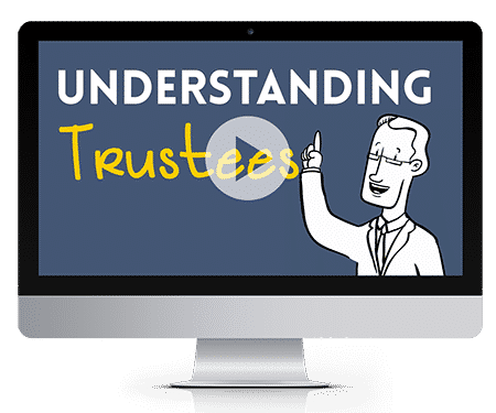 cartoon man pointing at the word understanding while explaining what trustees mean